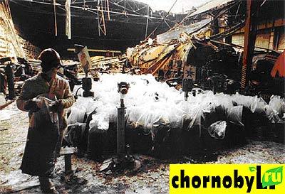Машзал после пожара на ЧАЭС